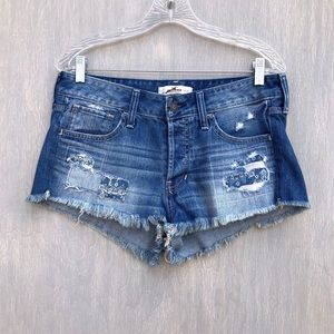Hollister patchwork raw hem denim shorts 5 27